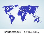 blue world map with pointers on ... | Shutterstock .eps vector #644684317