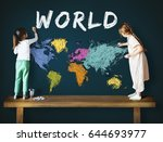 colorful world map geography... | Shutterstock . vector #644693977