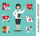 female doctor. vector... | Shutterstock .eps vector #644703187