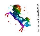 rainbow unicorn  stars ... | Shutterstock . vector #644703313