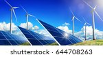 solar panels and wind turbines... | Shutterstock . vector #644708263