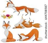 set of cute watercolor fox on... | Shutterstock . vector #644708587