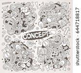 cartoon cute doodles hand drawn ... | Shutterstock .eps vector #644718817