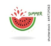 red cut juicy summer watermelon ... | Shutterstock .eps vector #644719363