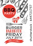 barbecue party invitation.... | Shutterstock .eps vector #644721757