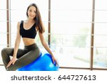 girl do exersice with ball on...   Shutterstock . vector #644727613