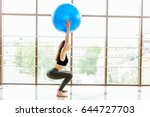 girl do exersice with ball on...   Shutterstock . vector #644727703