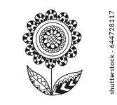 hand drawn contour flower for... | Shutterstock .eps vector #644728117
