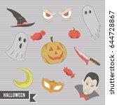 halloween doodle   Shutterstock .eps vector #644728867