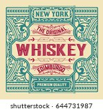 old  label design for whiskey... | Shutterstock .eps vector #644731987
