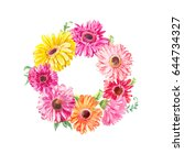 wreath of pink gerberas or... | Shutterstock . vector #644734327
