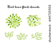 vector floral with leaves ... | Shutterstock .eps vector #644735503