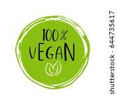 vector round eco  bio green... | Shutterstock .eps vector #644735617