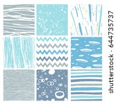 hand drawn pattern collection.... | Shutterstock .eps vector #644735737