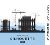 silhouettes of building houses. ... | Shutterstock .eps vector #644736493