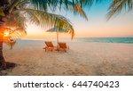tranquil sunset beach. summer... | Shutterstock . vector #644740423