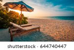 perfect beach sunset with beach ... | Shutterstock . vector #644740447