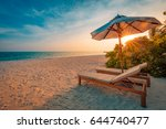 idyllic tropical beach... | Shutterstock . vector #644740477