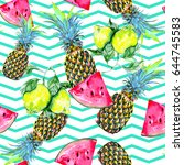 Watermelon slice, lemon, pineapples, tropical seamless vector pattern, fresh summer background. Abstract chevrons geometric texture | Shutterstock vector #644745583