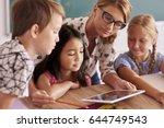 teacher explaining to pupils... | Shutterstock . vector #644749543