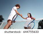 tennis players shaking hands ... | Shutterstock . vector #644755633