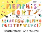 memphis alphabet. colorful... | Shutterstock .eps vector #644758693