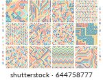 collection of colorful seamless ... | Shutterstock .eps vector #644758777