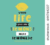 cool summer print with lemon.... | Shutterstock .eps vector #644764237