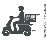 delivery man riding scooter... | Shutterstock .eps vector #644768203
