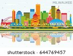 milwaukee skyline with color... | Shutterstock .eps vector #644769457