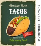 retro fast food mexican tacos... | Shutterstock .eps vector #644774743