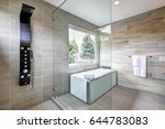 contemporary master bathroom... | Shutterstock . vector #644783083