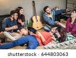 happy friends having party... | Shutterstock . vector #644803063