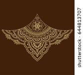 henna tattoo flower template.... | Shutterstock .eps vector #644813707