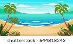 tropical beach vector background | Shutterstock .eps vector #644818243