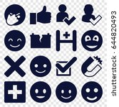 positive icons set. set of 16... | Shutterstock .eps vector #644820493