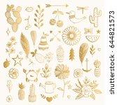 hand drawn illustration. tattoo ... | Shutterstock .eps vector #644821573