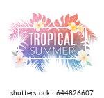 tropical summer typography...   Shutterstock .eps vector #644826607