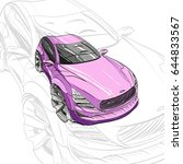 car concept.car sketch.vector... | Shutterstock .eps vector #644833567