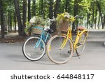 two yellow and turqoise city... | Shutterstock . vector #644848117