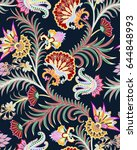 seamless pattern with colorful... | Shutterstock .eps vector #644848993