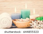 spa towel  candle and salt.... | Shutterstock . vector #644855323