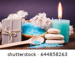 spa salt and stones  towel ... | Shutterstock . vector #644858263