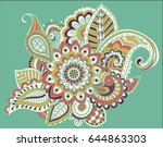 flower pattern bright abstract... | Shutterstock .eps vector #644863303
