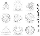 set of wireframe polygonal...   Shutterstock .eps vector #644865103