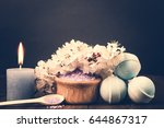 spa salt  flower branch  bath... | Shutterstock . vector #644867317