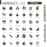 Black Classic Web Drinks Icons...