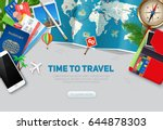 top view on travel and tourism... | Shutterstock .eps vector #644878303