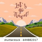 highway drive with beautiful... | Shutterstock .eps vector #644882317