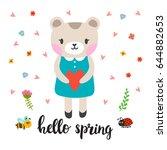 cute little bear with heart.... | Shutterstock .eps vector #644882653